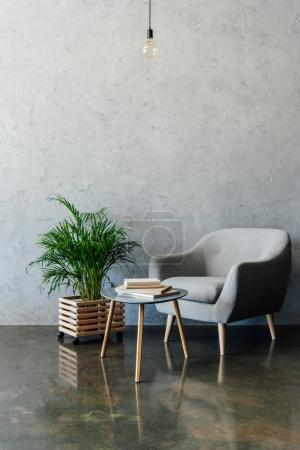 Photo for Cozy grey armchair with books on coffee table and green potted plant in empty room - Royalty Free Image