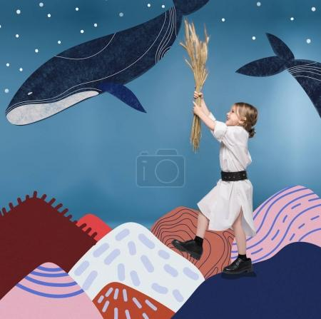 girl with wheat ears and whales