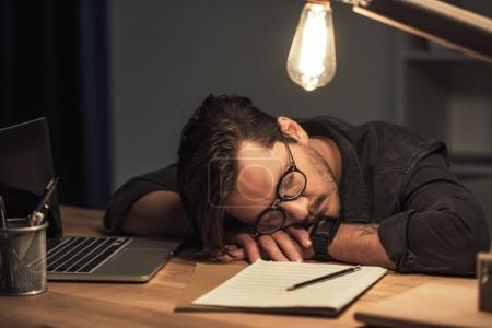 musician sleeping at workplace