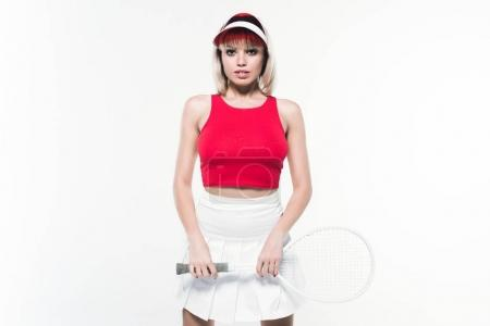 stylish woman with tennis racket