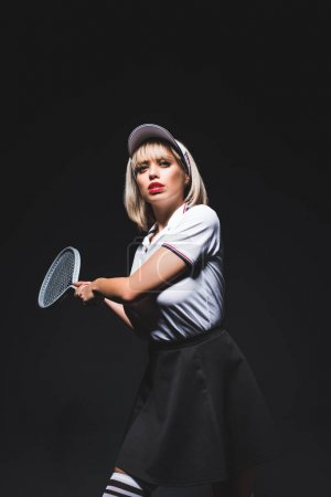 beautiful woman with tennis racket