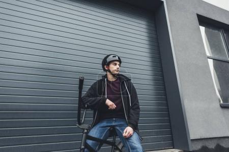 bmx biker on street