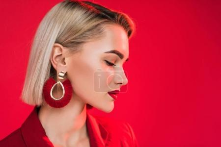 fashionable girl in earrings
