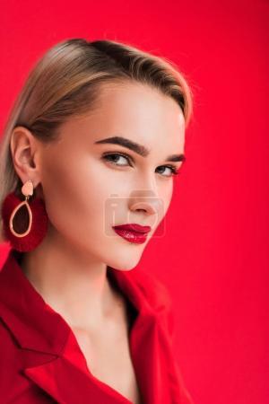 stylish girl posing in earrings