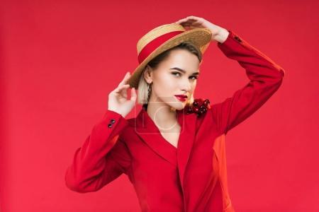 stylish girl in straw hat