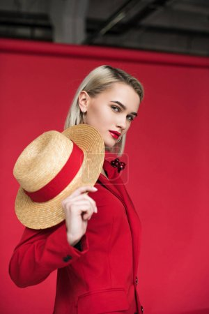 stylish girl with straw boater