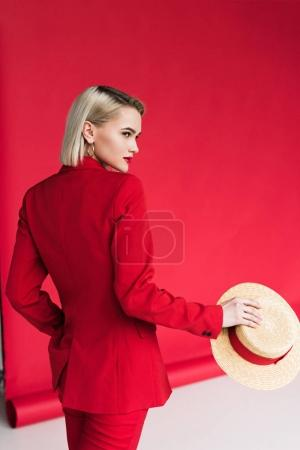 stylish girl in red jacket