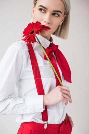 attractive girl with red flower