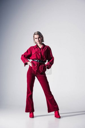 girl in red trendy clothes