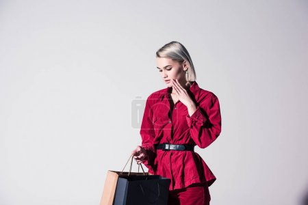 elegant girl with shopping bags