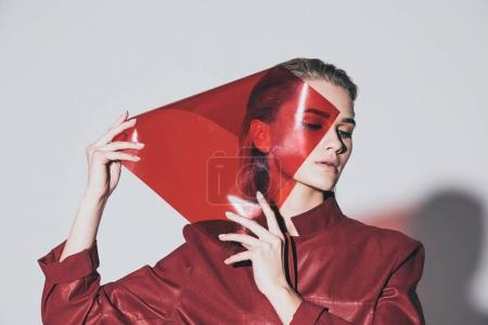 attractive fashionable girl with red filter