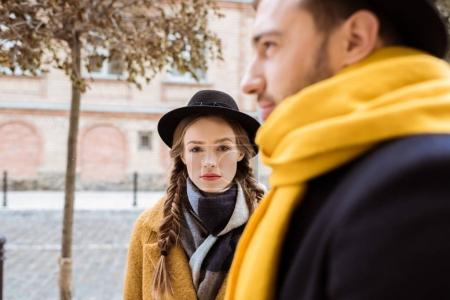 attrective young couple in autumn outfit