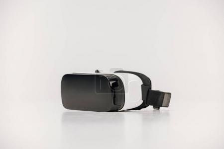 close-up view of virtual reality headset isolated on white