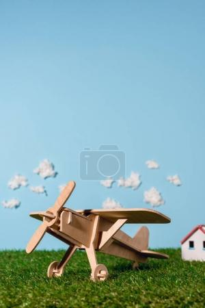 wooden toy plane on green grass and blue sky with clouds