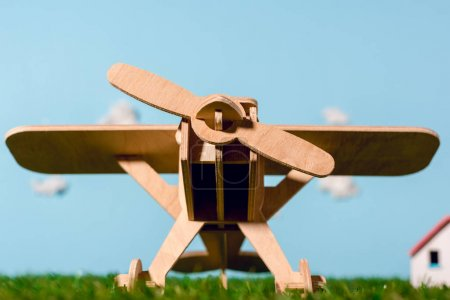 close-up view of wooden toy plane on green grass