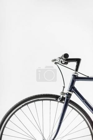 one bicycle wheel with brake lever isolated on white