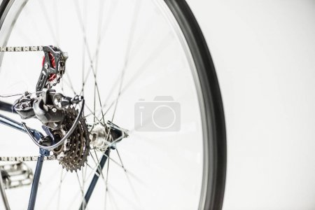 bicycle gears and wheel with spokes isolated on white