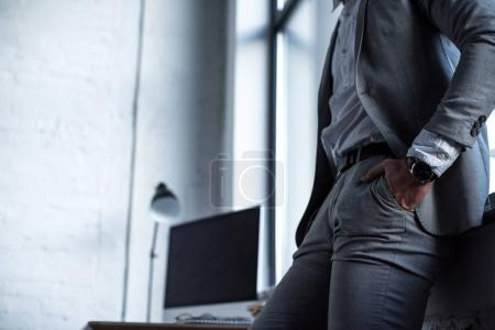 cropped image of businessman in grey suit in office