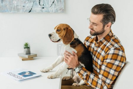 side view of businessman holding cute beagle