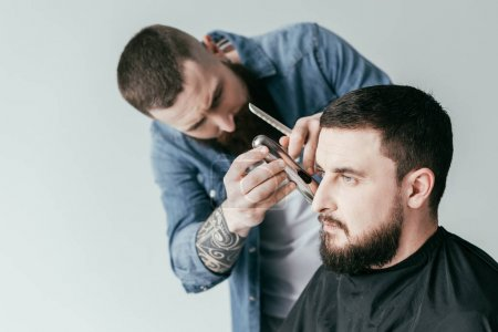 serious barber trimming customer beard at barbershop isolated on white