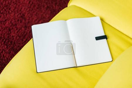 Photo for Top view of empty textbook pages with pencil - Royalty Free Image