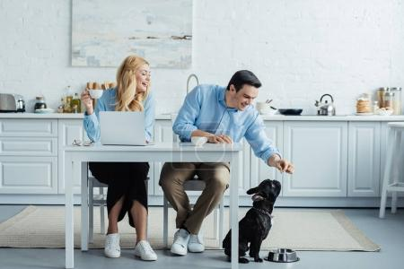Man and woman drinking coffee and feeding french bulldog by kitchen table