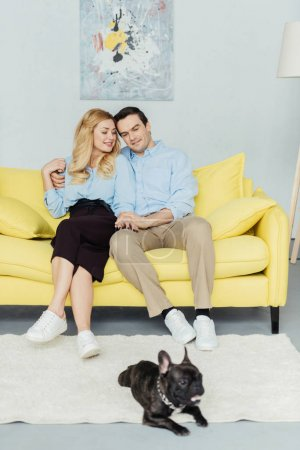 Happy couple sitting and holding hands on yellow sofa by french bulldog on floor