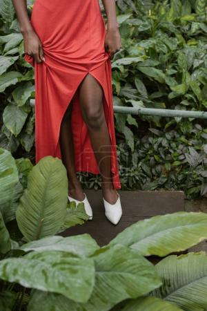 low section view of african american girl posing in red dress in tropical garden