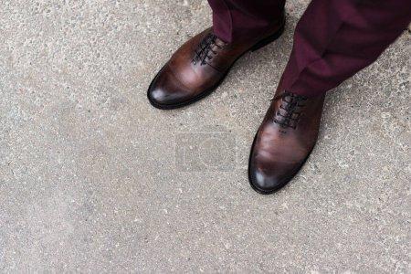 Photo pour Vue recadrée de l'homme portant des chaussures oxford en cuir taille entière - image libre de droit