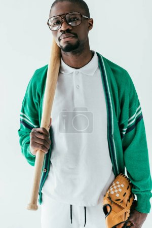 vintage african american player with baseball bat and glove, isolated on white