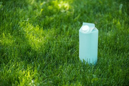 close up view of blank blue milk package on green lawn