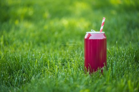 close up view of drink in pink can with straw on green lawn
