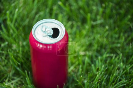 close up view of soda in pink can on green lawn
