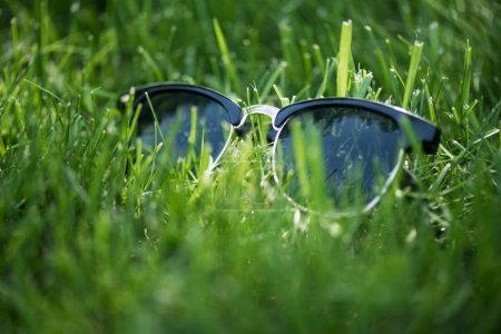 close up view of stylish sunglasses on green grass