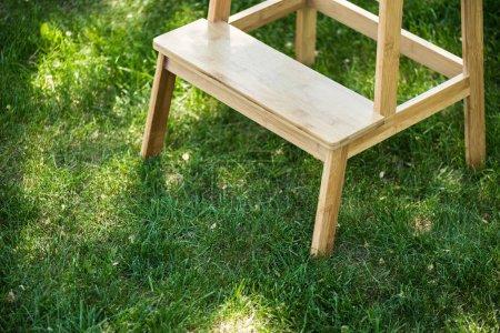 bouchent la vue des commandes d'escaliers en bois sur l'herbe verte