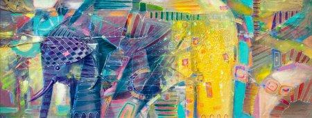 Photo pour Peinture abstraite indienne d'éléphant - image libre de droit