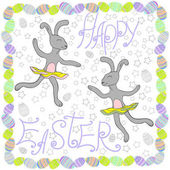 Happy Easter rabbits with Easter eggs