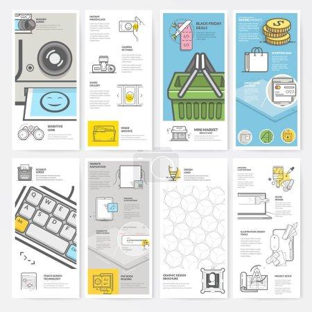 Illustration pour Éléments graphiques et multimédias. Ensemble de quatre modèles d'impression bifold avec des icônes de concept pour le portefeuille personnel et d'entreprise . - image libre de droit