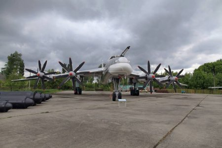 TU-95MS (BEAR). The eight-seater all-metal freestanding high-wing with four turboprop engines located in the wings and a three-post retractable landing gear. Strategic bomber. The Poltava Long-Range Aviation Museum.