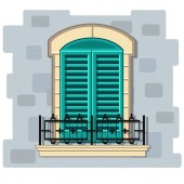 Vector window with turquoise shutters and wrought iron fence Cartoon cyan house element on a gray brick wall Cute summer illustration European street