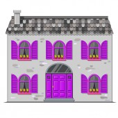 Cute vector gray stone house with tile roof and violet round wooden window shutters and a arched door European street Cartoon building