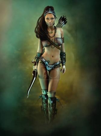 Photo pour Graphiques informatiques 3D d'un archer féminin dans le style de jeu d'aventure fantastique - image libre de droit