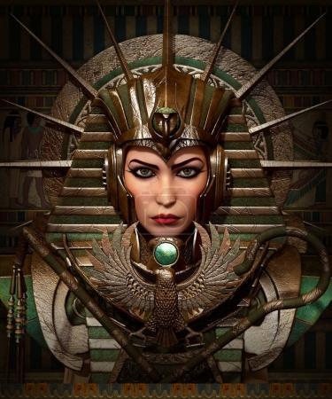 Photo pour Graphiques informatiques 3D d'une jeune femme avec maquillage et vêtements égyptiens anciens - image libre de droit