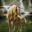 3d computer graphics of two mythical unicorns, mot...