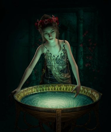 Photo for 3d computer graphics of a girl with a luminous bowl - Royalty Free Image
