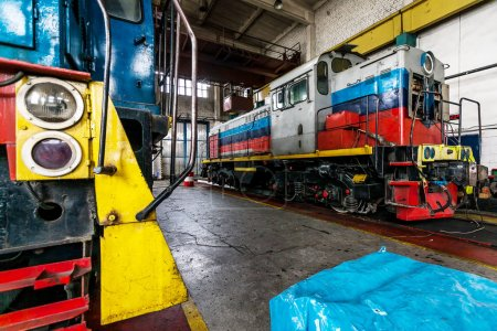 locomotive is in depot for repairs