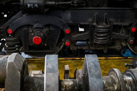 details of the disassembled locomotive engine
