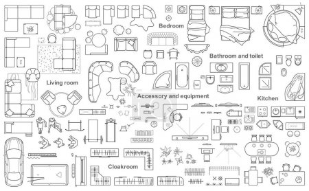 Illustration for Set of furniture top view for apartments plan. The layout of the apartment design, technical drawing. Interior icon for bathrooms, living room, kitchen, bedroom, hallway. - Royalty Free Image