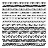 Vector set of 13 decorative geometric seamless borders in ethnic style Collection of pattern brushes for frames Aztec tribal ornaments Freehand drawing Black and white