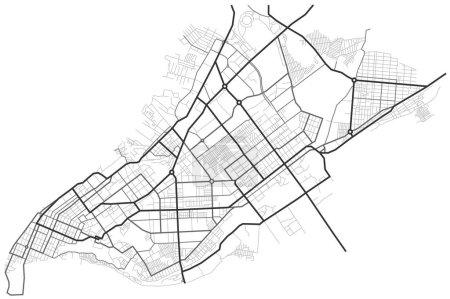 Samara mapa de la ciudad - calles de la ciudad en el plan. Mapa del esquema de la carretera. Entorno urbano, contexto arquitectónico. Vector